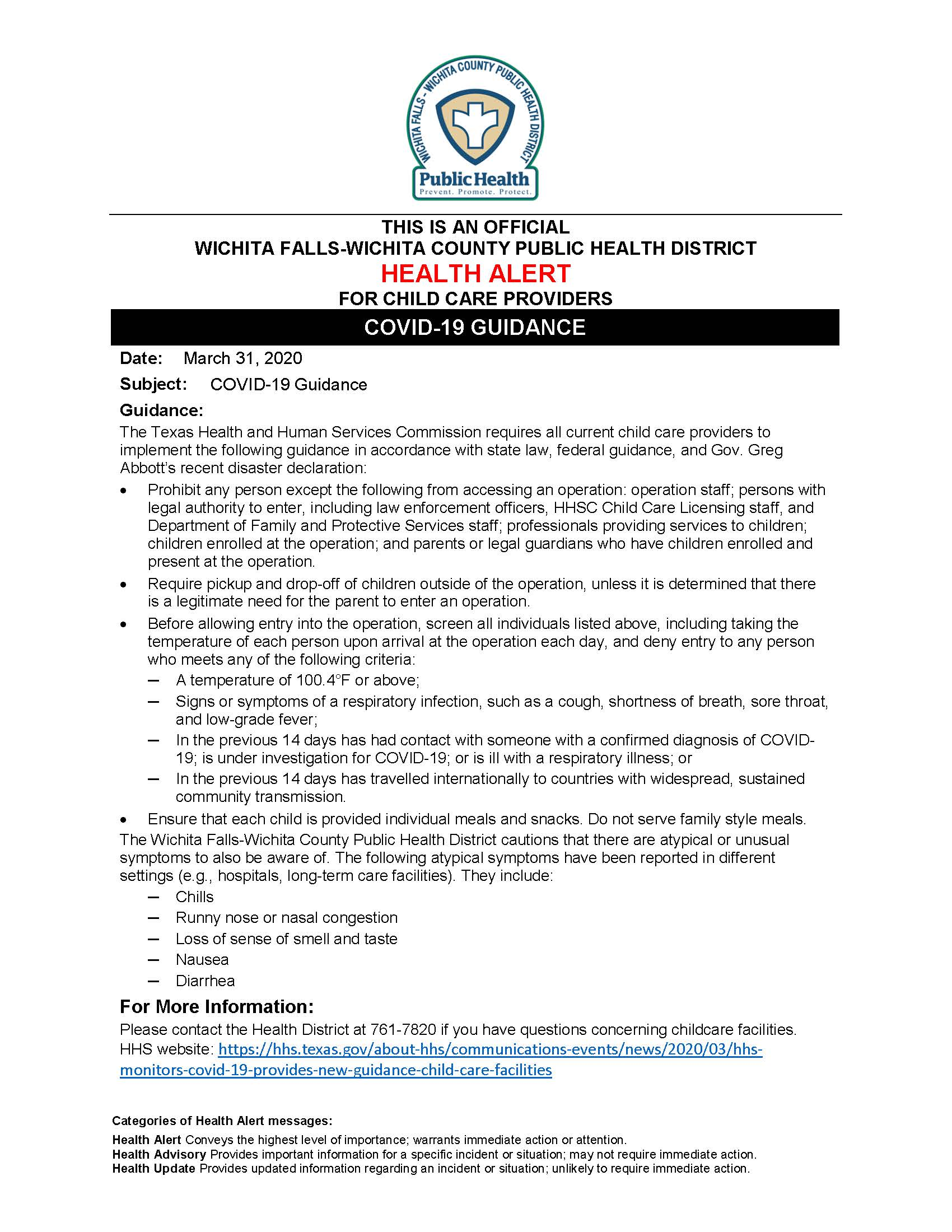 HEALTH ALERT Child Care Facilities 03.31.2020