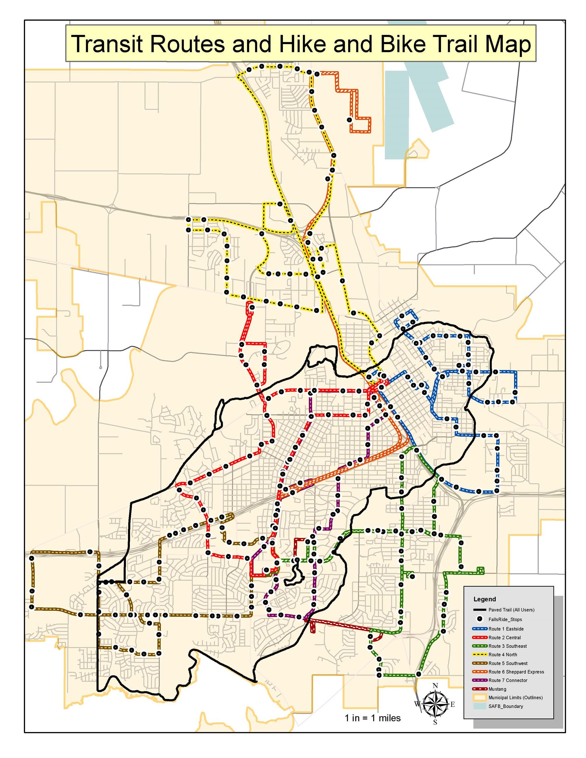Hike and Bike with Transit Route Map